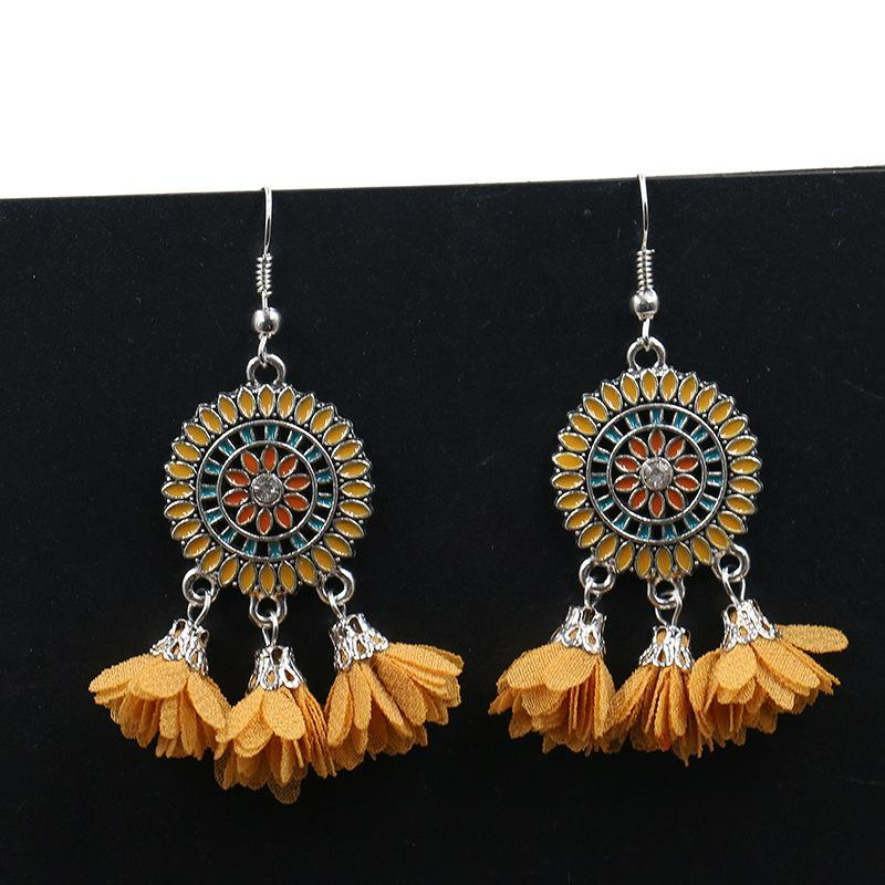 6 color Fashion red flower creative tassels earrings