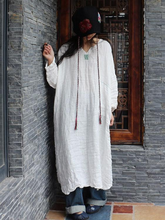 100% Linen Manual Embroidered Long Dress