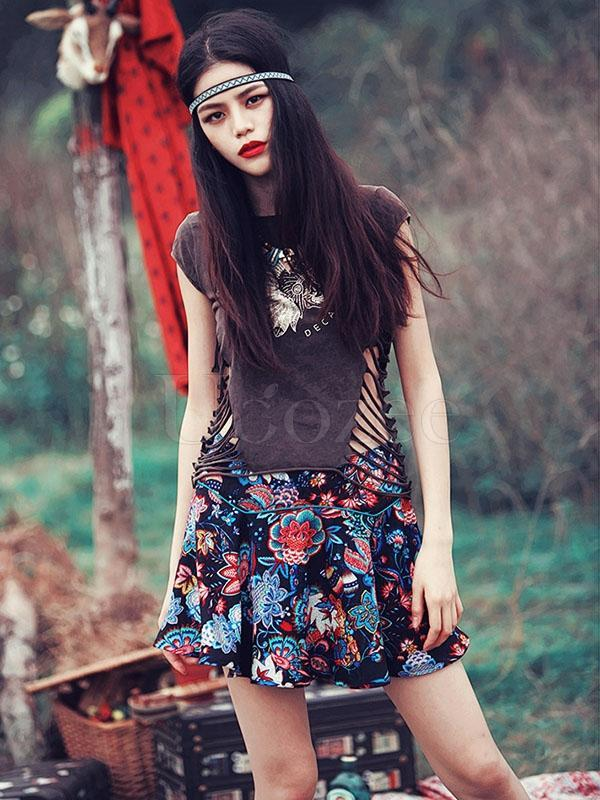 Retro Floral Printed Hollow T-shirt