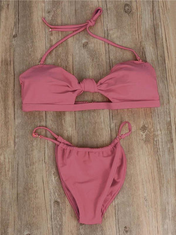 Sexy Backless Knotted Bandage Split Type Bikini Swimsuit