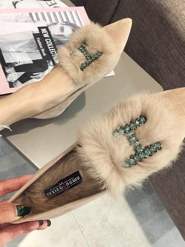 Rhinestone H Letter Artificial Fur Pointed Shoes