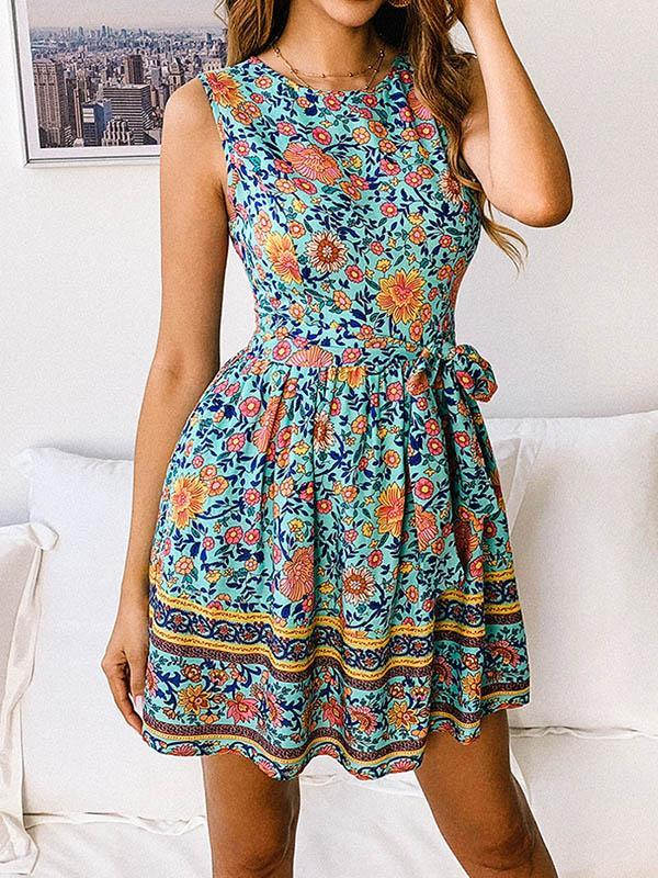 Printed Round Neck Mini Dresses