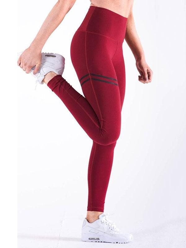 Empire Stripes Solid Fashion Yoga Leggings