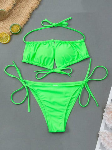 Sexy Drawstring Bandage Split Type Bikini Swimsuit