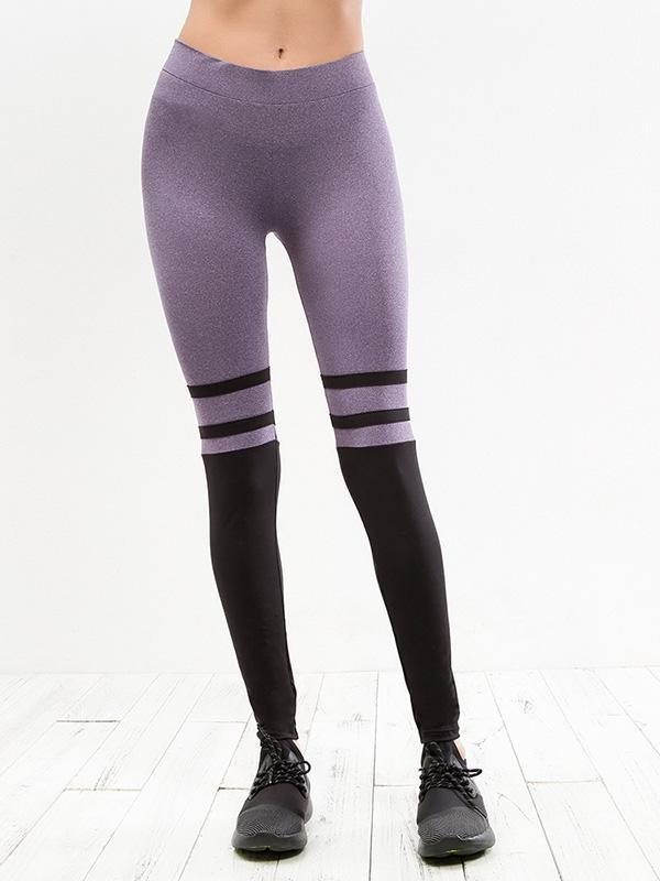 Striped Two Tone Elastic Gym Leggings