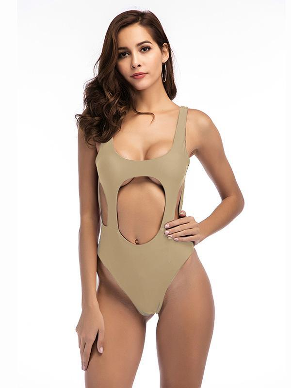 Sexy Hollow Solid One-piece Swimwear