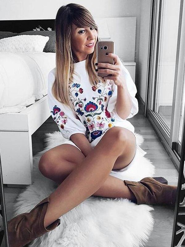 Cute Printed Round-neck Mini Dress