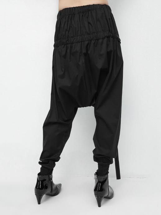 Elastic Waist Design Black Harem Pants
