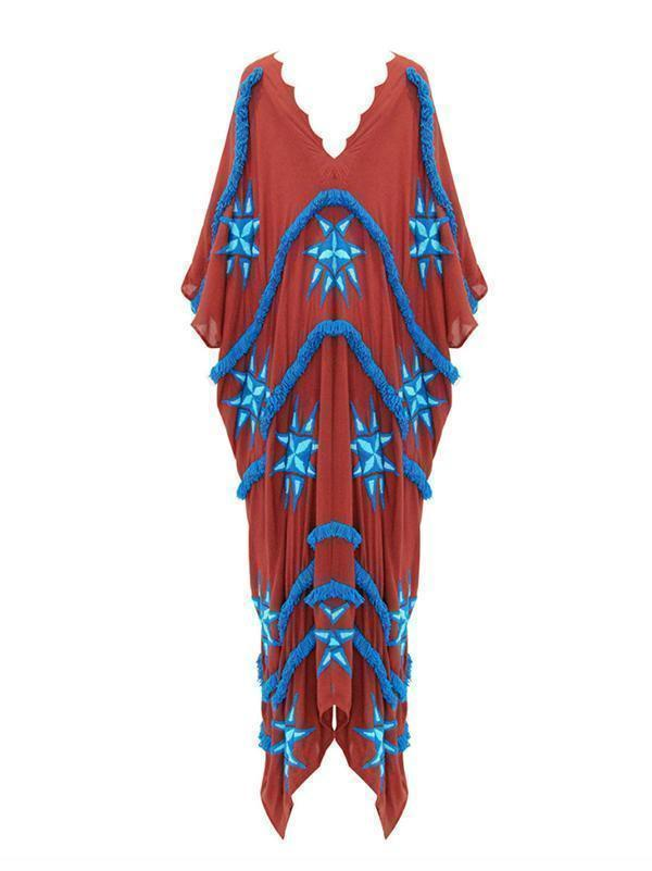 Tasseled Split-joint Kaftan Dress