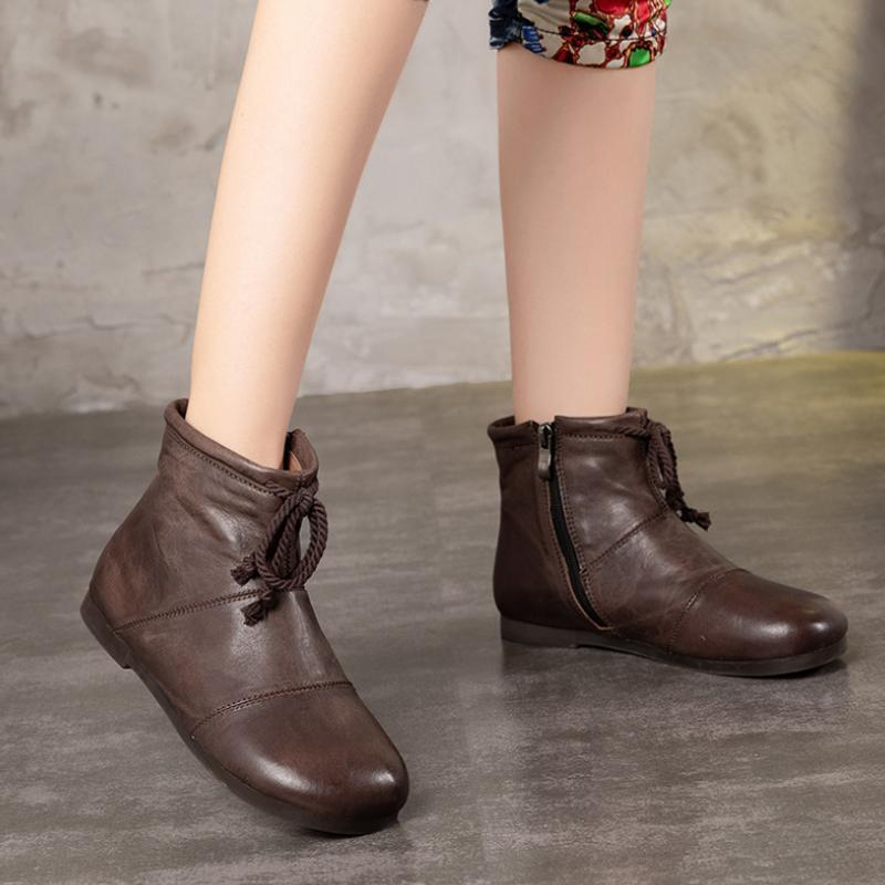 Vintage Lacing Zipper Low Heel Boots