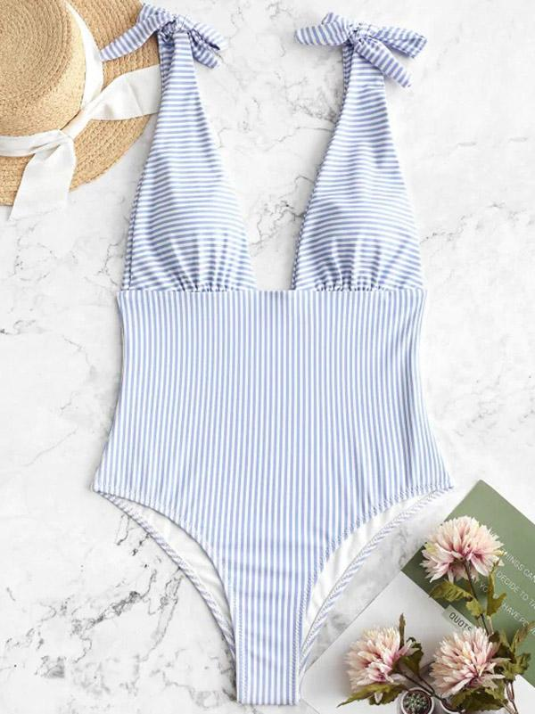 Sexy Deep V-Neck Triangles Stripes One-Piece Swimwear
