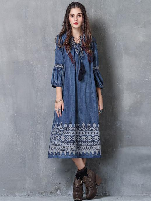 Vintage Oversize Embroidery Dress