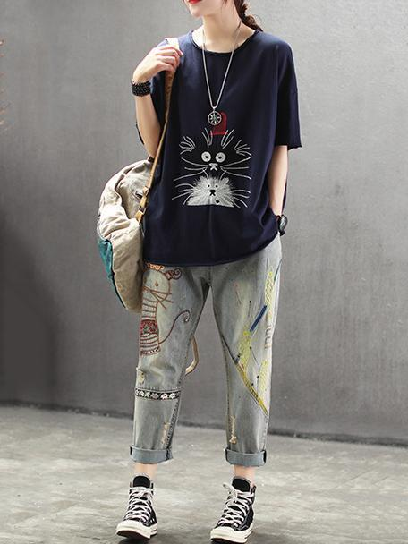 4 Colors Loose Embroidered Round-neck T-shirt