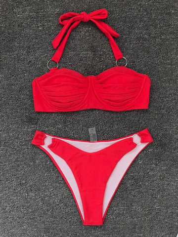 Sexy Fold Metal Ring Bikini Swimsuit