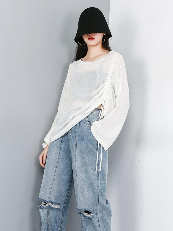 Ruffled See-through Sun-protection T-shirt