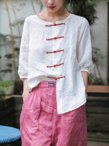 Casual Retro Linen Frog Blouses