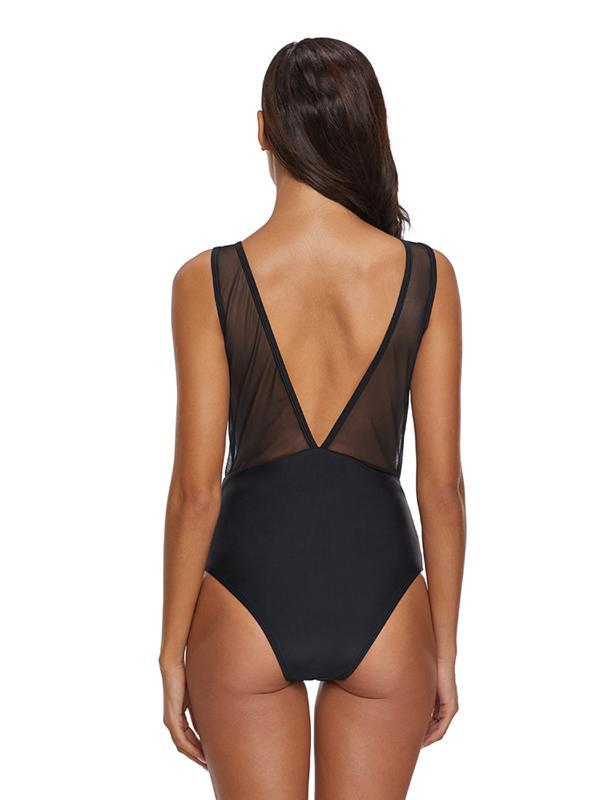 Tulle Hollow One-piece Swimwear