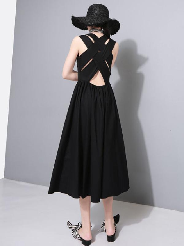 Sexy Halter Solid Sleeveless Long Dress