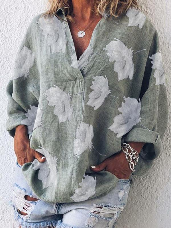 V-neck Printed Long Sleeve Blouses&ShirtsTops