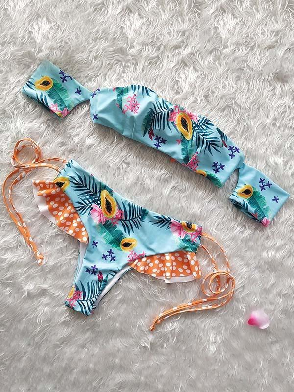 Printed Strapless Lace Up Bikinis Swimwear
