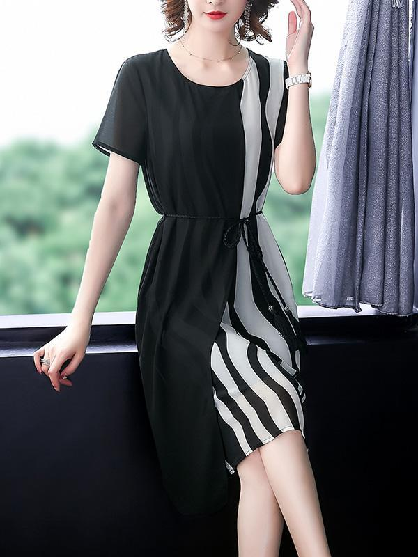 Summer Chiffon Loose Striped Dress