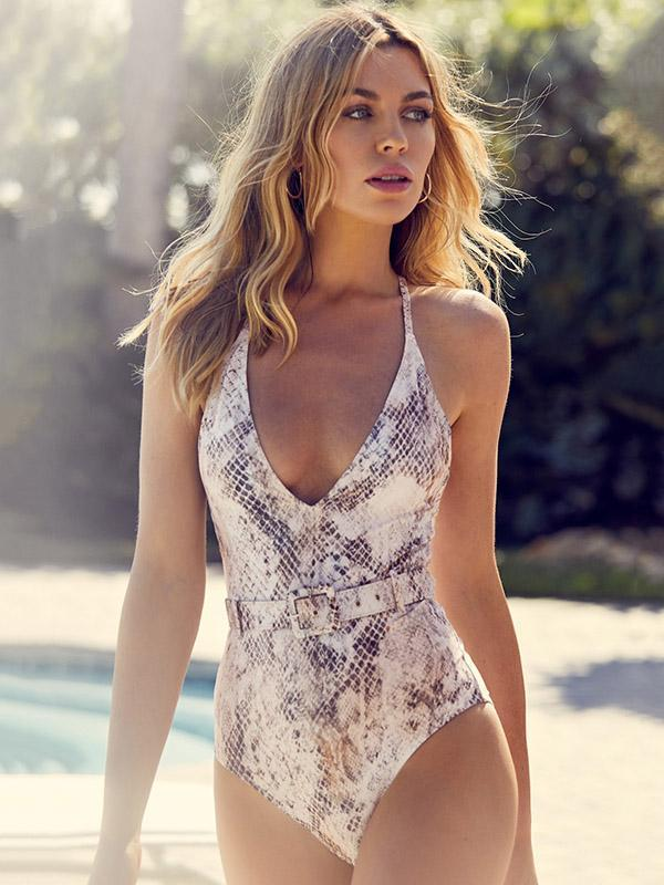 Snakeskin Insert The Belt Buckle One-piece Swimsuit