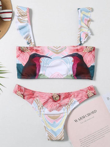 Sexy Fresh Strapless Falbala Printing Split Type Bikini Swimsuit