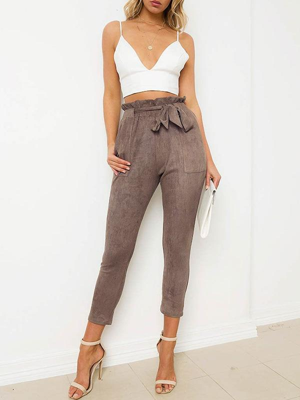 Fashion 3 Color Elastic Waist Casual Pants Bottoms