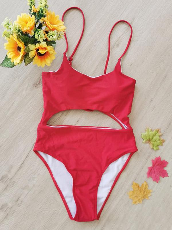Sexy Sling Hollow  Bandage  One-Piece Type Swimwear