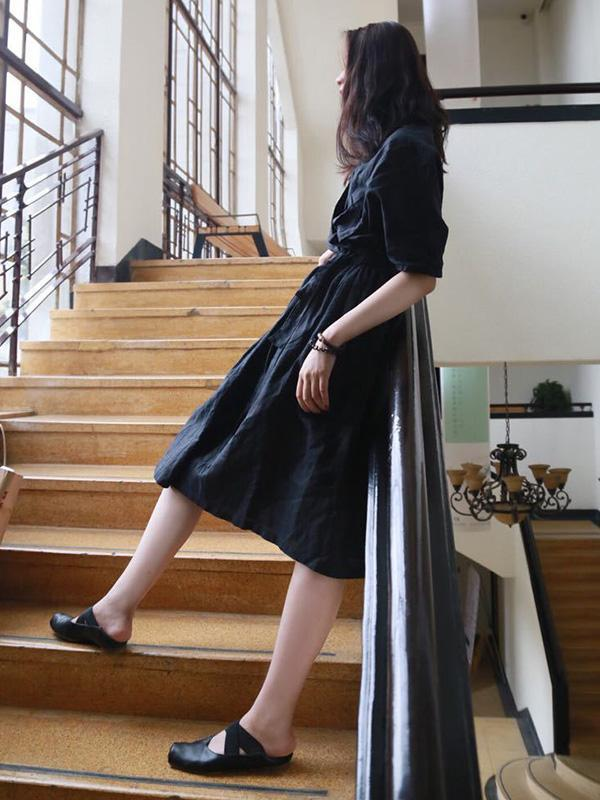Ramie Cotton  Black Loose V-neck Batwing Sleeves Linen Dress