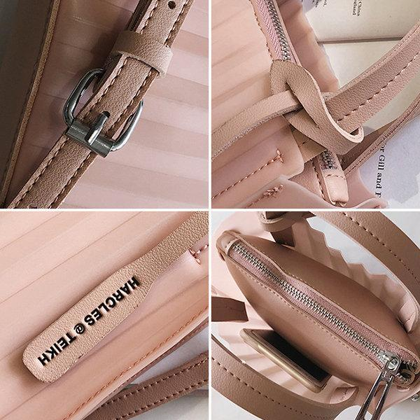 PU Faux Leather Candy Colors  Cute Crossbody Bag