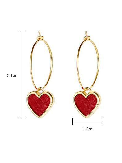 Red Heart Ear-ring Earrings