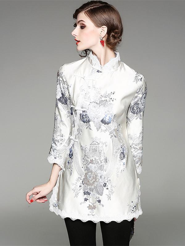 Creamy Embroidered Lacy Stand-collar Cheongsam Tops