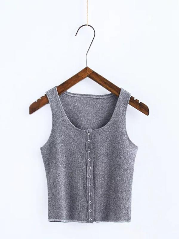 Round-neck Wrap Solid Casual Vest Top