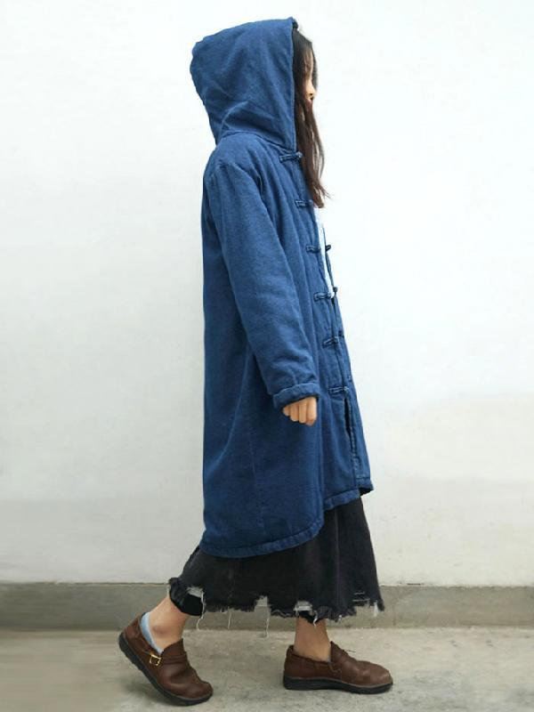 Ancient Button Pure Cotton Hooded Jacket