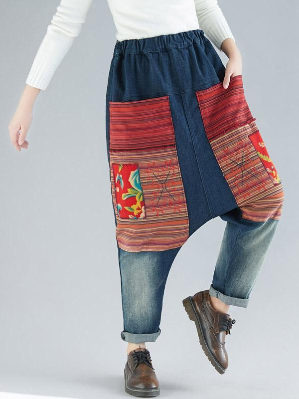 Elastic Waist Embroidered Harem Pants