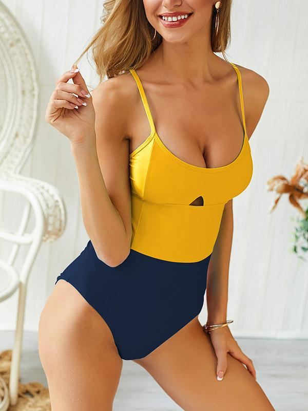 Traditional Contrast One Piece Swimsuit