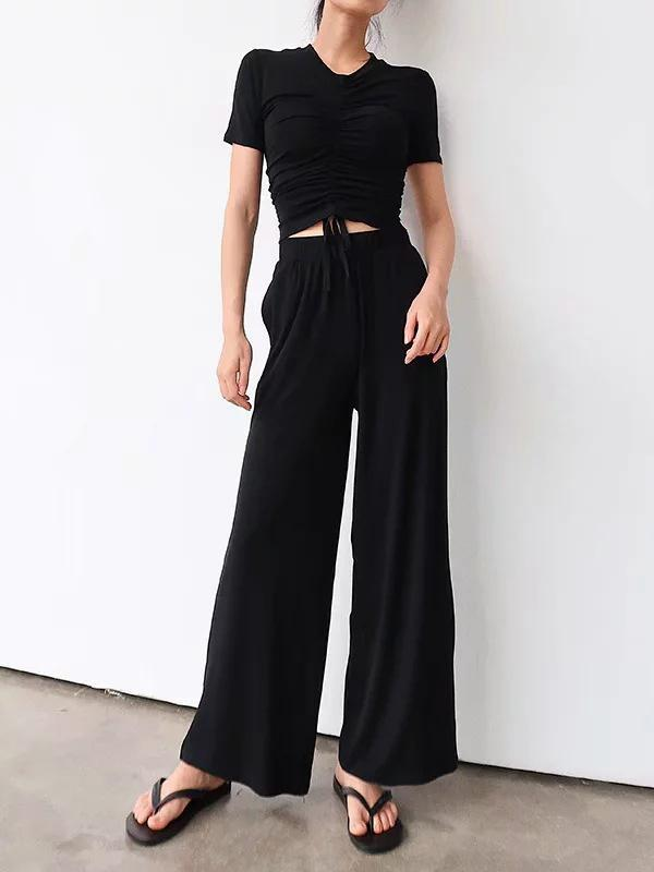 Drawstring Pleated Tees And Wide Leg Pants Suits