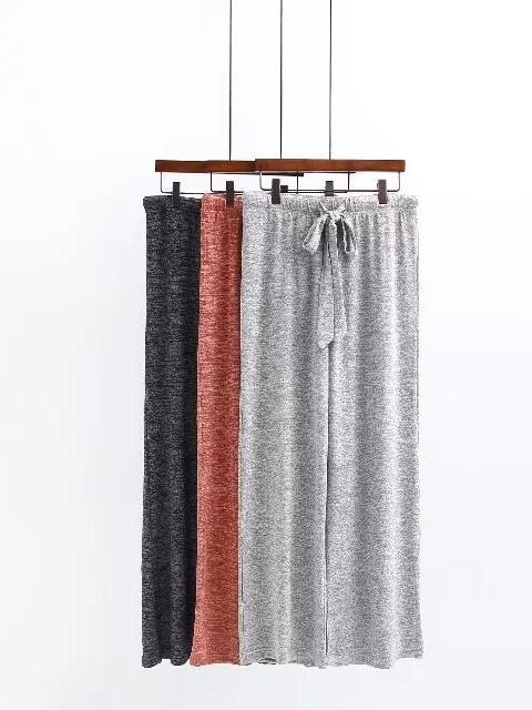 Drawstring Solid Hood Sweatershirt And Wide Leg Pants Suits