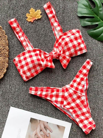 Sexy Plaid Bow-Embellished  Bikinis Swimwear