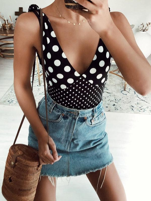 Vintage Polka-Dot V-neck One-piece Swimsuit