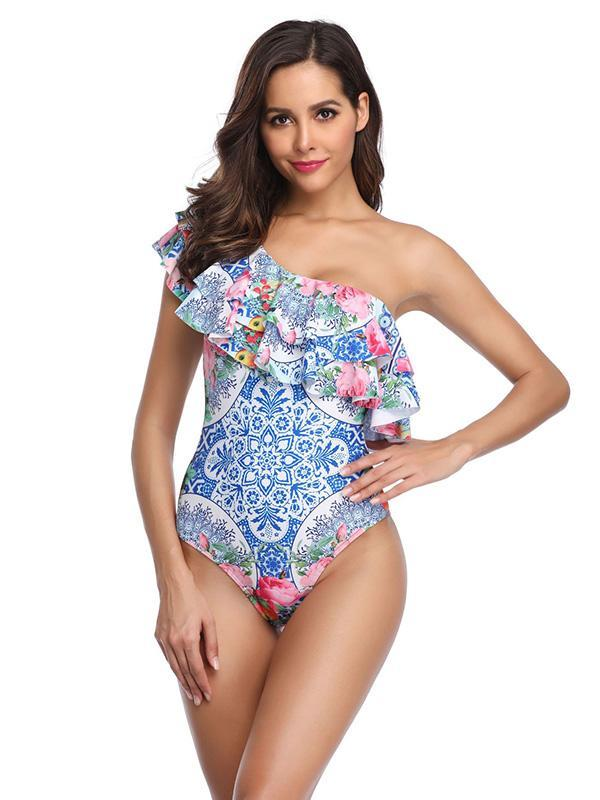 Single Shoulder Falbala Printed One-piece Swimsuit