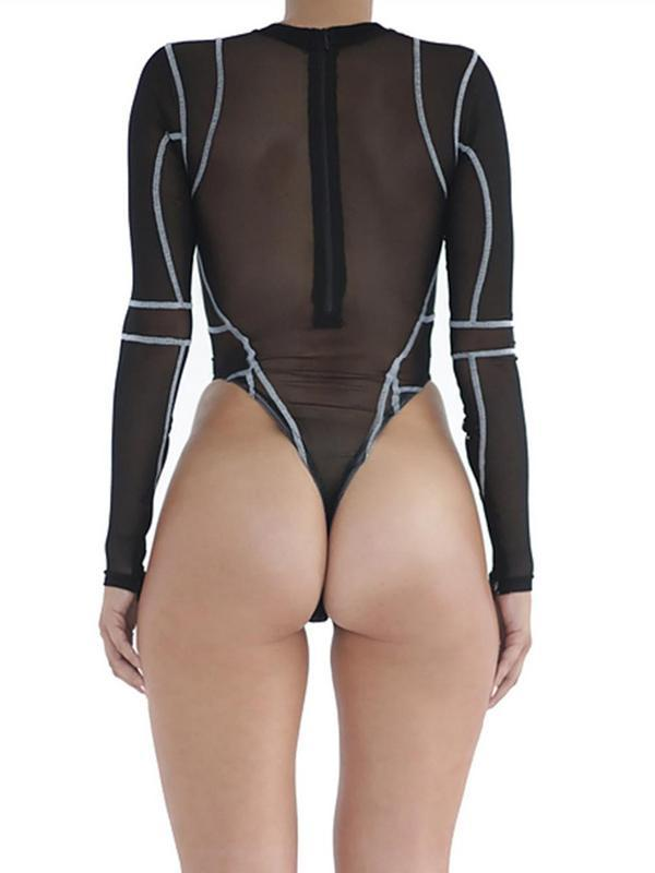 Sexy See-through Split-joint Long Sleeves Bodysuit