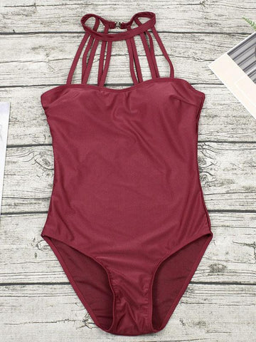Plain Straps Backless One-Piece Swimwear