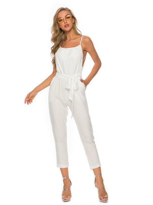 4 Colors Spagetti-neck Jumpsuits