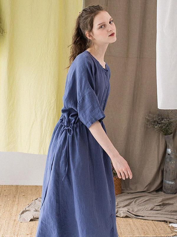 2019 Summer New Vintage Loose Solid Long Dress