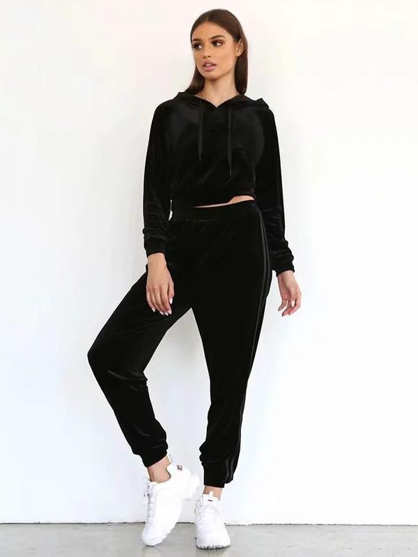 Velvet Hooded Sweatershirt And Harem Pants Suits