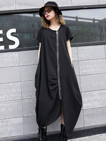 Cropped Zipper Punk Midi Dresses