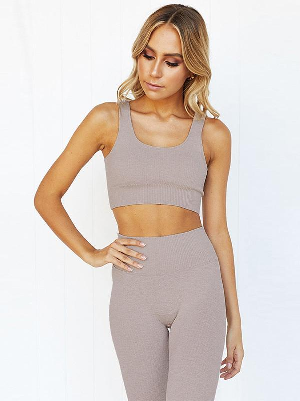 Striped Yoga Tank And Fitness Legging Suits