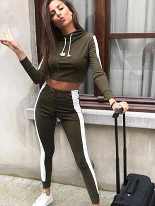 Two Tone Long Sleeve Hoodies And Leggings Suits